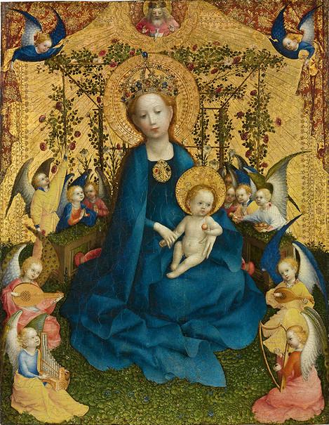 Stefan Lochner (Hagnau c. 1400/1410 - 1451 Colónia): Madonna de Rose Bower, c.  1440 - 1442, carvalho, 50,5 x 40 cm.  Adquirida em 1848 como um legado de FJ von Herwegh.  Inv.  não.  WRM 0067. Foto: Rheinisches Bildarchiv.